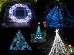 市役所附近的「牛岐城址公園」裡,各式LED燈飾炫麗奪目,浪漫滿點。
